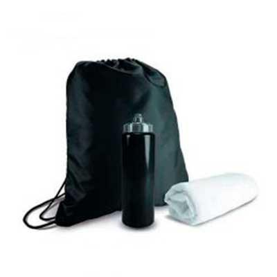 QMais Brindes - kit Esportivo 3 Peças   Kit esportivo 3 peças com mochila saco de nylon, squeeze plástico 950ml com tampa rosqueável e tolha inteiramente branca confe...