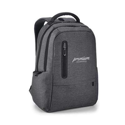 QMais Brindes - Mochila para notebook. Nylon 2Tone impermeável. Com 2 compartimentos. Compartimento posterior forrado, com bolso interior com zíper e divisória almofa...