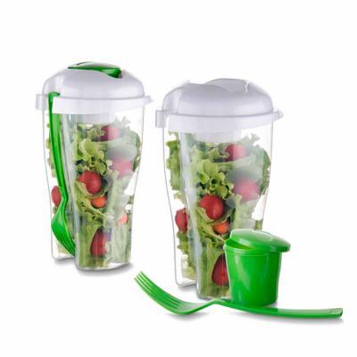 Primme Promocionais - Copo Salada Personalizado 850ml com Garfo e Suporte para Molho