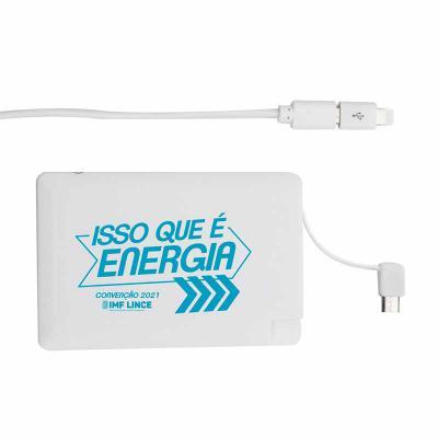 Primme Promocionais - Power Bank Personalizado Plástico Formato Cartão com indicador Led