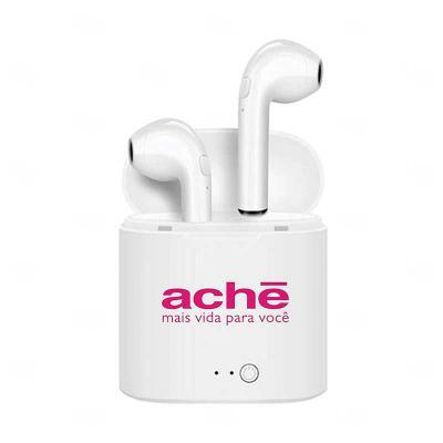Primme Promocionais - Fone de Ouvido Bluetooth com Case Carregador Personalizado