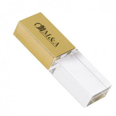 Primme Promocionais - Pen Drive Vidro Dourado