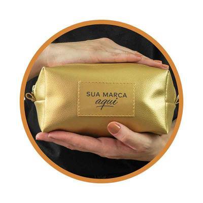 Kelly Pinheiro Brindes - Necessaire Estojão Beta Gold, tecido sintético com silk uma cor personalizado
