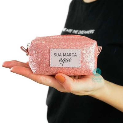 kelly-pinheiro - Porta Níquel Pequeno glitter rosa com placa Minsk sintético