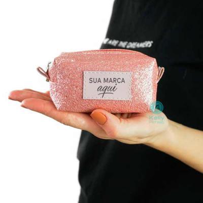 kelly-pinheiro - Porta níquel  Personalizado pequeno glitter rosa com placa Minsk sintético