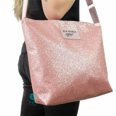 Kelly Pinheiro Brindes - Sacola Glitter Rosa sintético com alça de poliéster de 3cm dourada