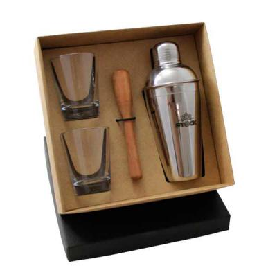 Criativo Brindes - Kit em caixa de papel kraft, coqueteleira 500ml em a�o inox, dois copos de vidro 120ml, socador de lim�o. Grava��o nas pe�as e na tampa da caixa.