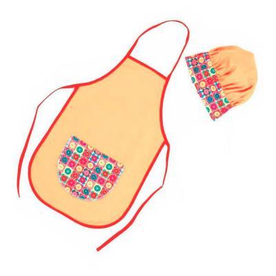 ninja-brindes - kit avental e touca infantil
