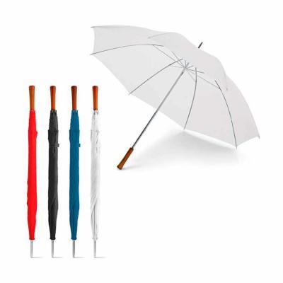 Donna Brindes e Presentes Personalizados - Guarda-chuva com cabo reto. MATERIAL: Poliéster 190T. CABO:  Madeira. DIMENSÃO: ø1270 mm | 965 mm