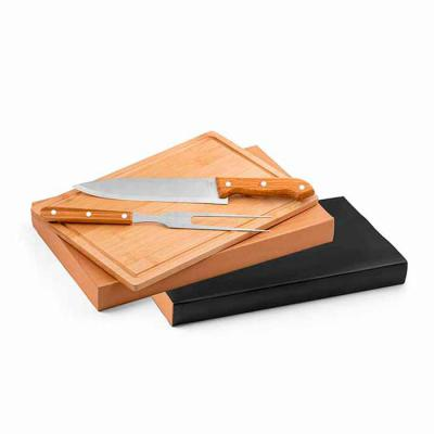 Outlet Promocional - Kit churrasco em Aço inox e bambu.