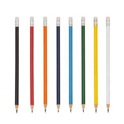 Meta Brindes - Lápis ecológico personalizado, resinado colorido com borracha e grafite preto, guarnição prateada.