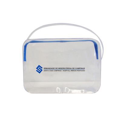 Recon - Necessaire em PVC cristal com zíper tecido.