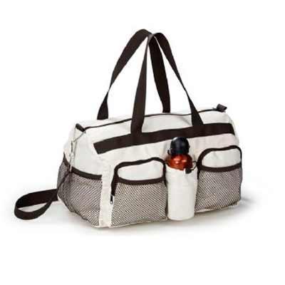 S & S Bolsas - Bolsa de viagem em algodão 255 g/ml Medida: 44 x 22 x 20 cm, 2 bolsos frontais com tela, alça de ombro e de mão.