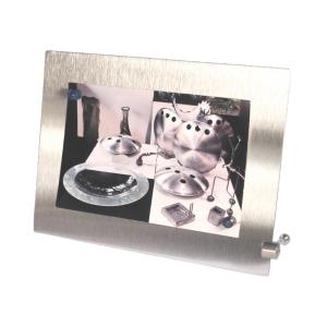 OZN Produz Presentes Corporativos - Porta retrato de aço inox escovado e imãs coloridos.