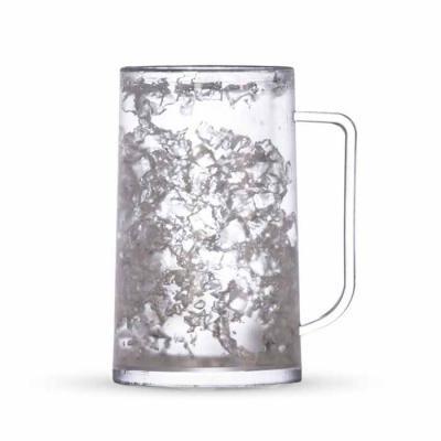 Imagem Promocional - Caneca acrílica 350ml com gel. Acrílico fosco com design em gel, congelar apenas de boca para baixo no máximo 48hs a cada congelamento.
