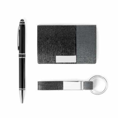 Imagem Promocional - C. sintético, metal e alumínio. Esferográfica com ponteira touch. Em caixa almofadada. Porta cartões: 97 x 65 x 11 mm | Chaveiro: 15 x 92 x 8 mm | Esf...
