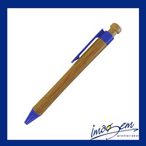 Imagem Promocional - Caneta de bambu Pen com detalhes em azul