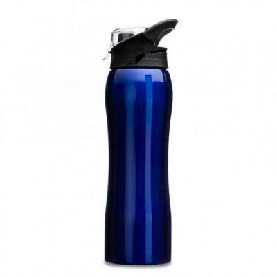 Imagem Promocional - Squeeze inox 750ml com alça flexível, possui tampa principal rosqueável e tampa de proteção plástica para o bocal.
