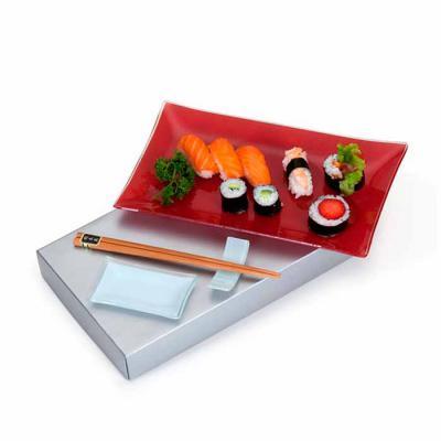 Imagem Promocional - 1 Travessa de vidro retangular 27x16x2cm 1 Molheira de vidro para shoyo 1 Apoio de vidro para hashi 1 Par de ohashi 1 Caixa para presente em papelão p...