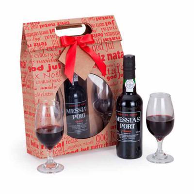 Imagem Promocional - 1 Gf Vinho Porto Messias Tawny 375ml 2 Taças Sommelier de vidro 230ml 1 Maleta Kraft com visor, laço e tag  24x8x31.5cm / Peso 1.190g