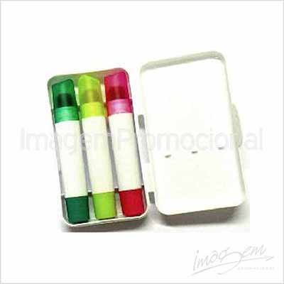 Imagem Promocional - Kit com canetas marca-texto giz de cera. Com 03 cores