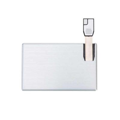 Imagem Promocional - Pen card 4GB de alumínio. Cartão slim frente e verso liso, basta empurrar o slot para utilização.