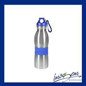 Imagem Promocional - Squeeze de aço inox de 600 ml com mosquetão azul