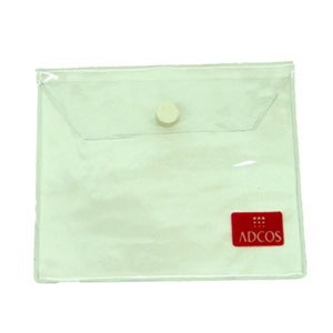 Eletroplast - Embalagem modelo envelope personalizada em PVC cristal, com botão de pressão e aba (outras medidas, materiais e detalhes sob consulta).