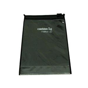 Eletroplast - Envelope personalizado com fundo dobrado em PVC camurça colorido, e PVC cristal com zíper de PVC (outras medidas, materiais e detalhes sob consulta).