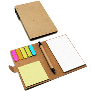 Classic Pen Brindes - Bloco com caneta reciclada e marcadores de página color 70 folhas