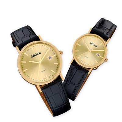 MKorn - Relógio de pulso análogo quartz, caixa em ouro 18k, com calendário e pulseira de couro. Não perca essa oportunidade unica, garanta já um relógio perso...