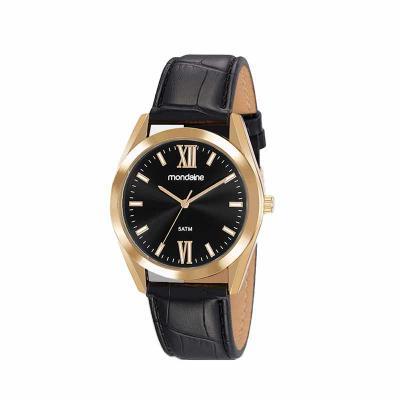 MKorn - Relógio de pulso Mondaine análogo quartz, mostrador preto, com index, pulseira de couro, resistente a água.  - Garantia de 1 ano - Embalagem de plásti...
