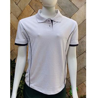 Galeon Brindes e Embalagens Promocionais - Camiseta feminina polo, recortes laterais Piquet PA. Detalhes outra cor
