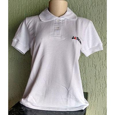 galeon-brindes-e-embalagens-promocionais - Camiseta feminina piquet gola com braçadeiras.