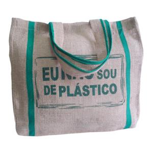galeon-brindes-e-embalagens-promocionais - Sacola personalizada em juta natural - Medidas: 43 x 45 x 10 com 2 alças e viés verde. Silk 1 cor.
