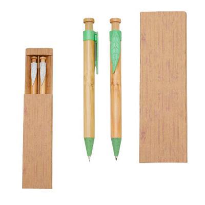 Plus Brindes - Conjunto Caneta e Lapiseira Bambu Plus