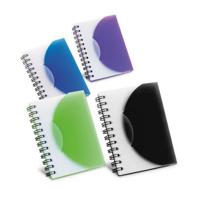 Plus Brindes - Note personalizado com capa de plástico semi-rígido. Possui 80 folhas não pautadas. Caderno com espirais. Tamanho A7.  Medidas: 78 x 108 mm