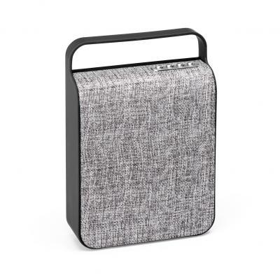 Plus Brindes - Caixa de som com microfone. ABS e tecido em poliéster. Acabamento emborrachado. Com transmissão por bluetooth, ligação stereo 3,5 mm e leitor de cartõ...