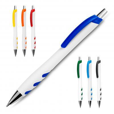 Plus Brindes - Caneta esferográfica plástica com corpo branco, detalhes coloridos, clip e ponteira metálico. Acionamento em click.
