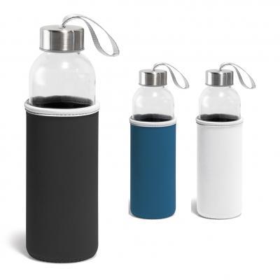 Plus Brindes - Squeeze. Vidro e aço inoxidável. Capacidade: 520 ml. Fornecido com luva em softshell.