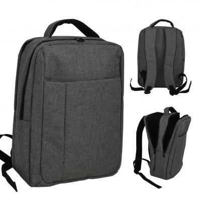 Plus Brindes - Mochila para Notebook na cor cinza. Com 3 bolsos frontais, compartimento almofadado para notebook, alça de ombro e alça de mão acolchoada.
