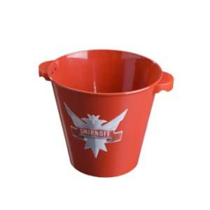 CN Acrilycs - Balde em alumínio vermelho, 150mm de altura com adesivo resinado. Sua marca estampada em um produto de qualidade.