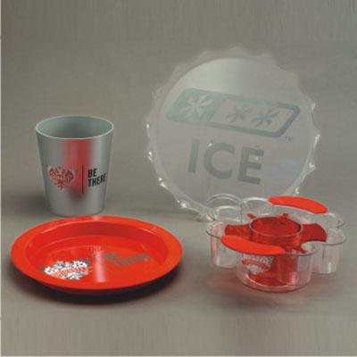CN Acrilycs - Kit com bandejas, balde combo e balde de acrílico vermelho, cristal e prata (pode ser vendido separadamente) - Projeto Smirnoff – Preço sob consulta
