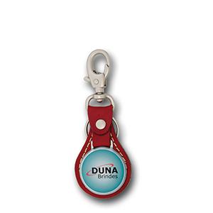 Duna Brindes - Chaveiro couro e metal redondo com base em couro legítimo