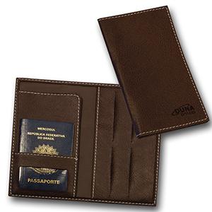 Duna Brindes - Porta-passaporte confeccionado em couro legítimo, sintético ou ecológico