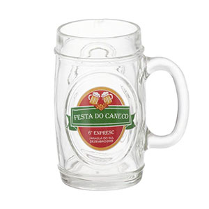 Dumont ABC Porcelanas Personalizadas - Caneca de chopp personalizada em vidro fritz - 475 ml. Sua marca presente nos momentos especiais.