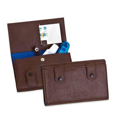 Secoli Brindes - Kit bucal com bolso para escova, creme dental, fio dental e espelho. Sua marca oferecendo conforto e bem estar ao cliente!