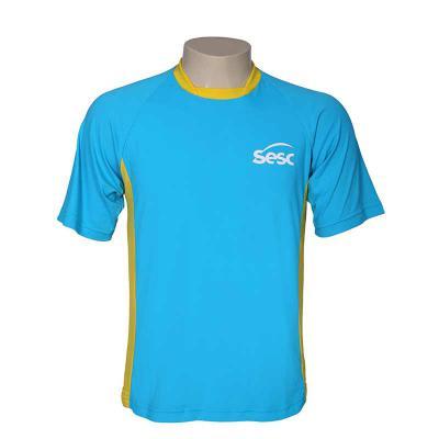 bonifor-brindes - Camiseta Gola Bayard, manga curta, confeccionada em poliamida e 50% proteção UV. Impressão em Silk screen.