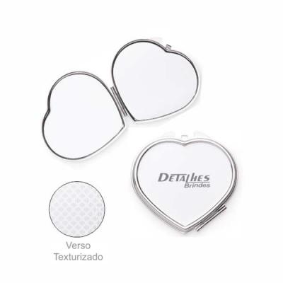 Detalhes Brindes - Espelho metal duplo coração com aumento
