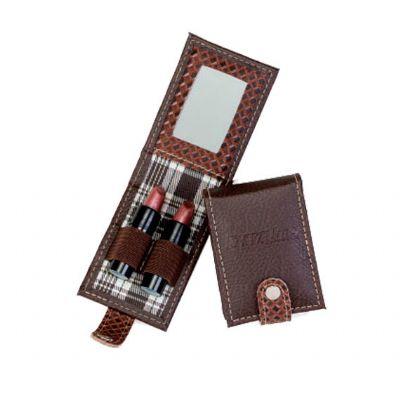 Detalhes Brindes - Porta-batom duplo em couro personalizado